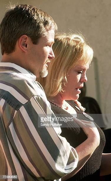 Damon van Dam breaks down in tears along with his wife Brenda during a press conference at their home February 26 2002 in the Sabre Springs section...