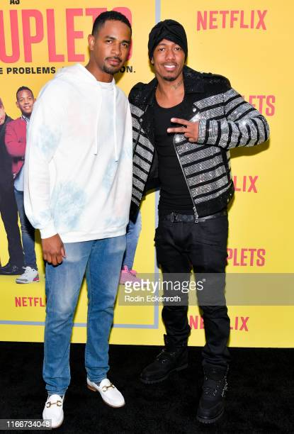 "Damon Wayans Jr. And Nick Cannon attend the premiere of Netflix's ""Sextuplets"" at ArcLight Hollywood on August 07, 2019 in Hollywood, California."