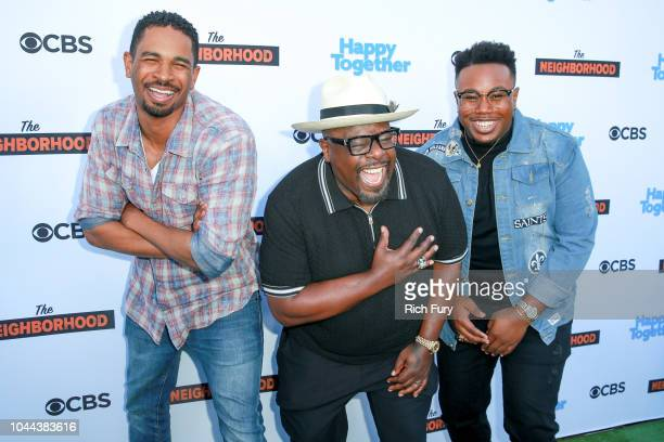 "Damon Wayans Jr., Cedric The Entertainer and Marcel Spears attend the CBS Social Happy Hour Viewing Party for ""The Neighborhood"" And ""Happy Together""..."