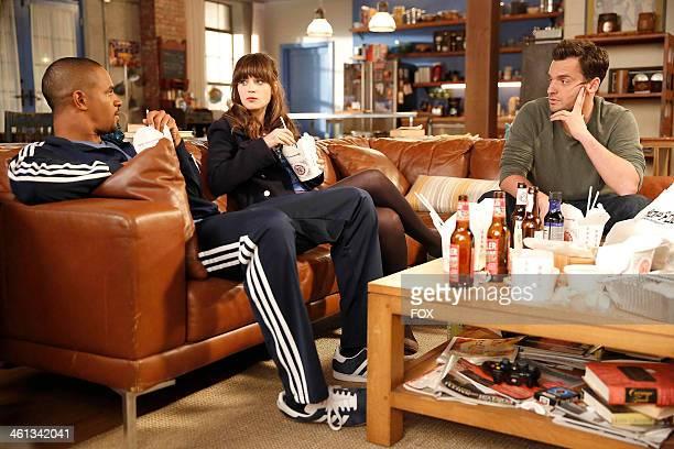 "Damon Wayans, Jr., Zooey Deschanel and Jake Johnson in the ""Menus"" episode of NEW GIRL airing Tuesday, Nov. 12, 2013 on FOX."
