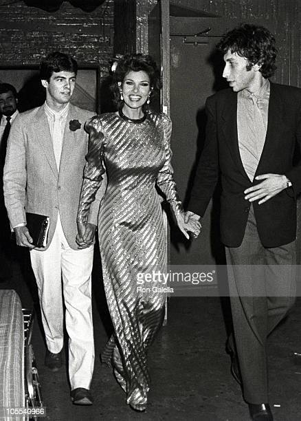 Damon Welch Raquel Welch and Andre Weinfeld during Raquel Welch in Woman of the Year Broadway Opening Night Backstage at The Palace Theater in New...