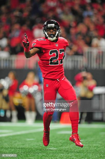 Damontae Kazee of the Atlanta Falcons celebrates after a play against the New Orleans Saints at MercedesBenz Stadium on December 7 2017 in Atlanta...