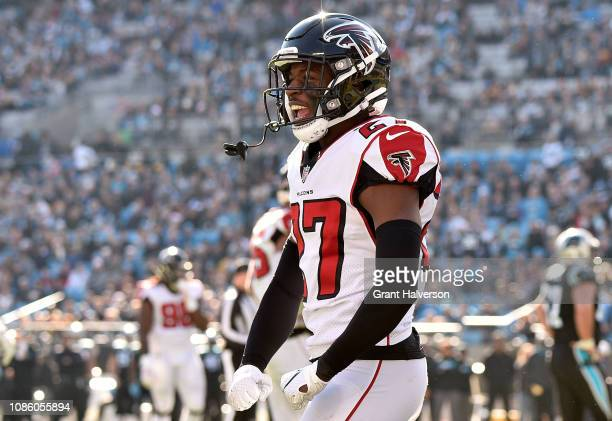 Damontae Kazee of the Atlanta Falcons reacts against the Carolina Panthers in the first quarter during their game at Bank of America Stadium on...