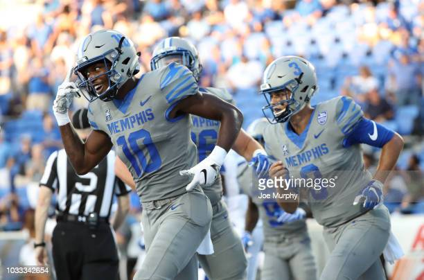 Damonte Coxie of the Memphis Tigers celebrates a touchdown against the Georgia State Panthers on September 14, 2018 at Liberty Bowl Memorial Stadium...