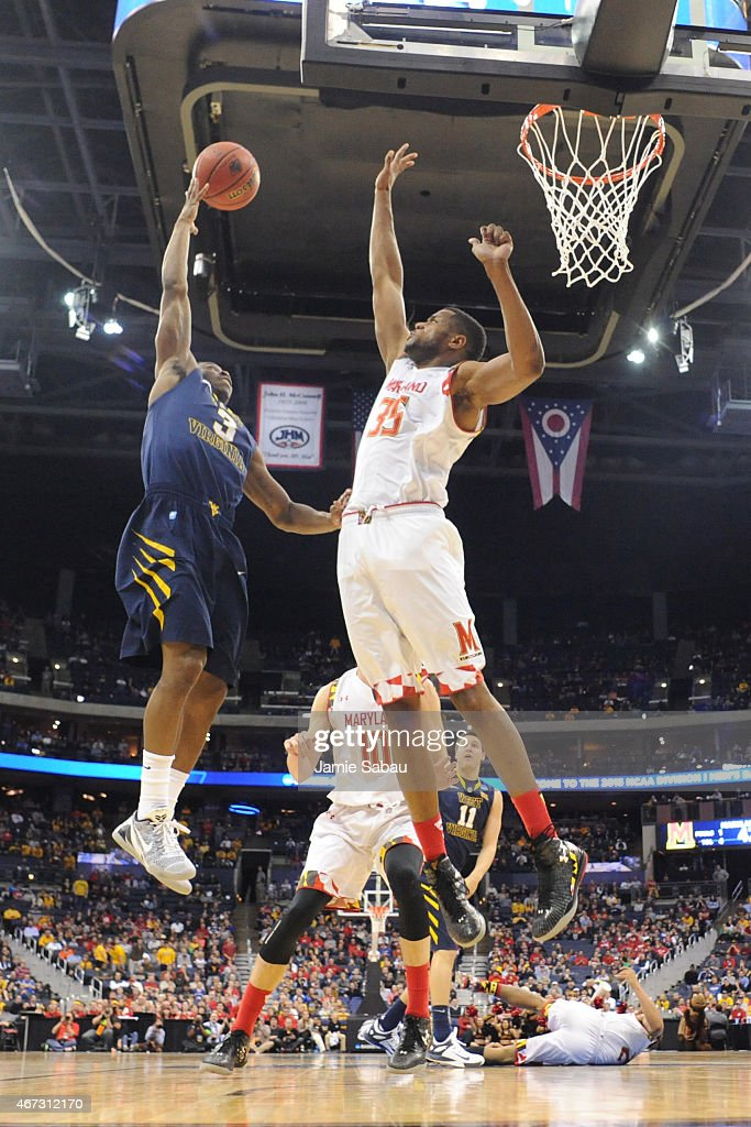 Damonte Dodd of the Maryland Terrapins attempts to block a ...