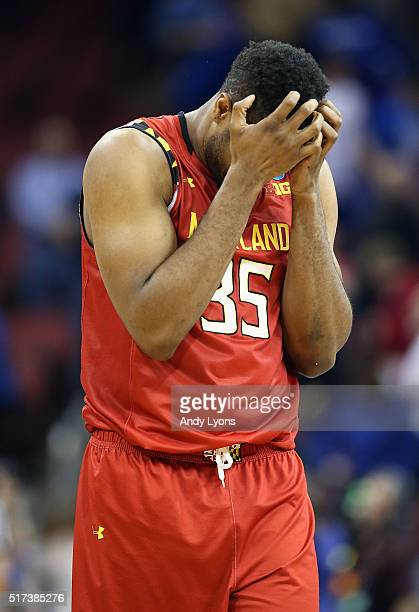 Damonte Dodd of the Maryland Terrapins reacts after being defeated by the Kansas Jayhawks 7963 during the 2016 NCAA Men's Basketball Tournament South...