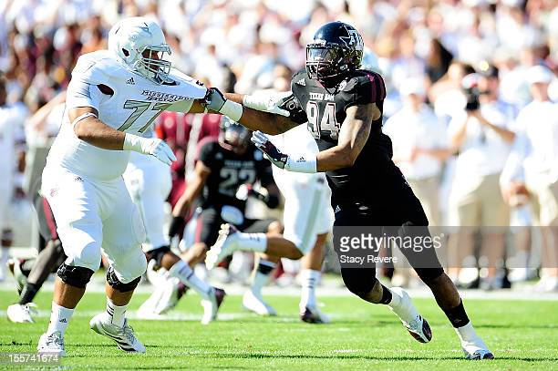 Damontre Moore of the Texas AM Aggies rushes against Joey Trapp of the Mississippi State Bulldogs at Wade Davis Stadium on November 3 2012 in...