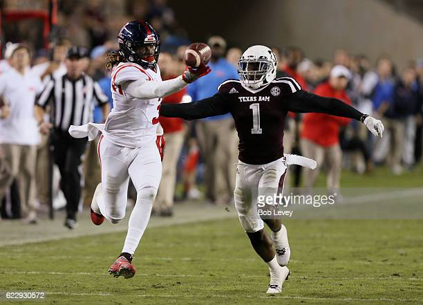 Damore'ea Stringfellow of the Mississippi Rebels makes a one handed catch in the fourth quarter as he gets behind Nick Harvey of the Texas AM Aggies...