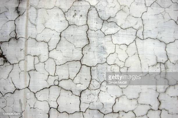 damp, cracked and weathered grey concrete wall - deterioration stock pictures, royalty-free photos & images