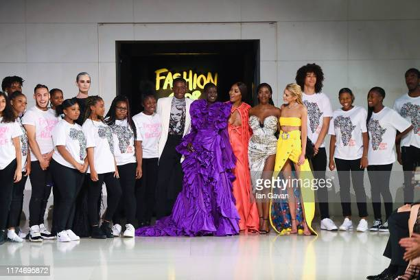 Damson Idris Adut Akech Naomi Campbell and Stella Maxwell at the finale of the Fashion For Relief catwalk show London 2019 at The British Museum on...
