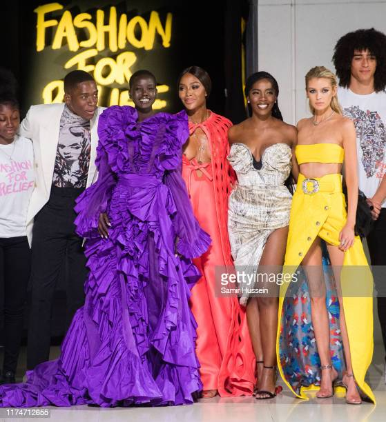 Damson Idris Adut Akech Naomi Campbell and Stella Maxwell the runway at the Fashion for Relief show during London Fashion Week September 2019 on...