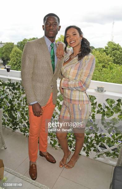 Damson Idris and Maya Jama attend the Polo Ralph Lauren & British Vogue day during Wimbledon at All England Lawn Tennis and Croquet Club on July 5,...
