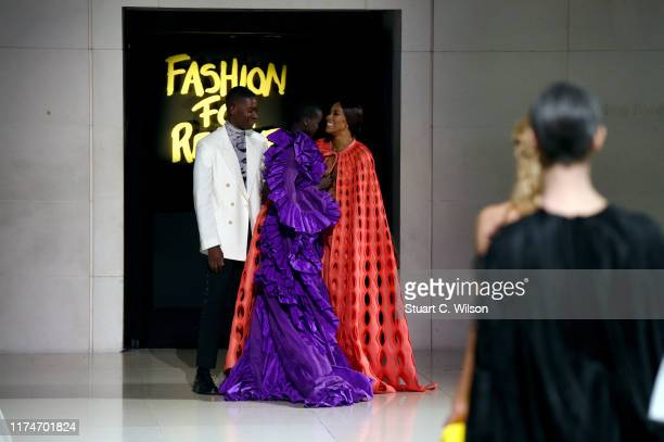 Damson Idris Naomi Campbell and Adut Akech at the final of the Fashion For Relief catwalk show London 2019 at The British Museum on September 14 2019...
