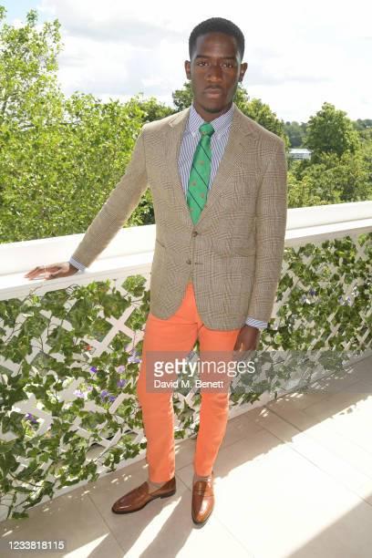 Damson Idris, wearing Ralph Lauren, attends the Polo Ralph Lauren & British Vogue day during Wimbledon at All England Lawn Tennis and Croquet Club on...