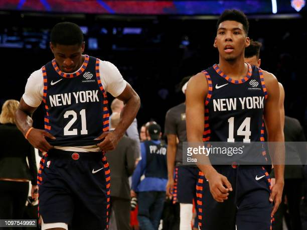 Damyean Dotson and Allonzo Trier of the New York Knicks walk off the court after the loss to the Oklahoma City Thunder at Madison Square Garden on...