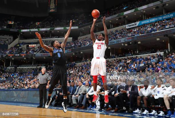 Damyean Dotson of the Houston Cougars shoots a jumpshot against Markel Crawford of the Memphis Tigers on February 26 2017 at FedExForum in Memphis...