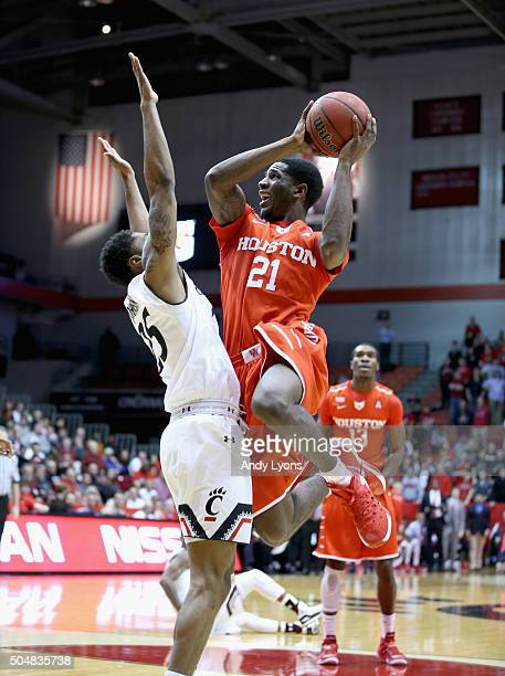 Damyean Dotson of the Houston Cougars shoots the ball against the Cincinnati Bearcats at Fifth Third Arena on January 13 2016 in Cincinnati Ohio