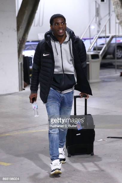 Damyean Dotson of the New York Knicks arrives before the game against the Brooklyn Nets on December 14 2017 at Barclays Center in Brooklyn New York...