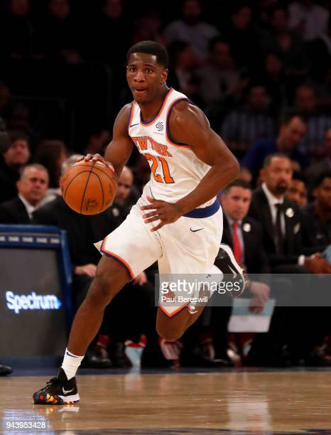 Damyean Dotson of the New York Knicks drives to the basket in an NBA basketball game against the Miami Heat on April 6 2018 at Madison Square Garden...
