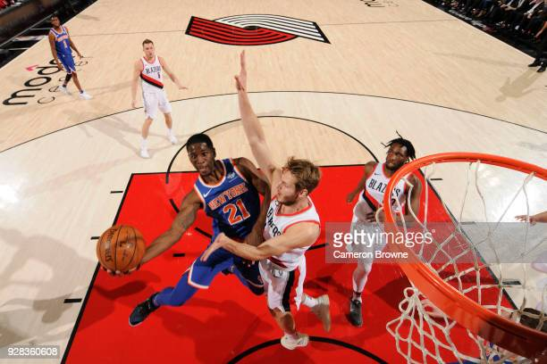 Damyean Dotson of the New York Knicks goes to the basket against the Portland Trail Blazers on March 6 2018 at the Moda Center in Portland Oregon...