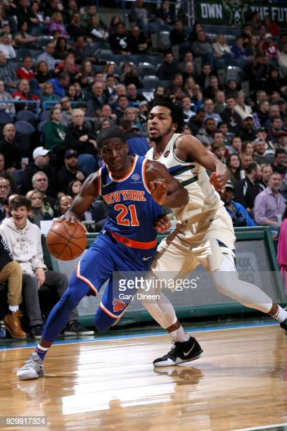 Damyean Dotson of the New York Knicks goes to the basket against the Milwaukee Bucks on March 9 2018 at the BMO Harris Bradley Center in Milwaukee...
