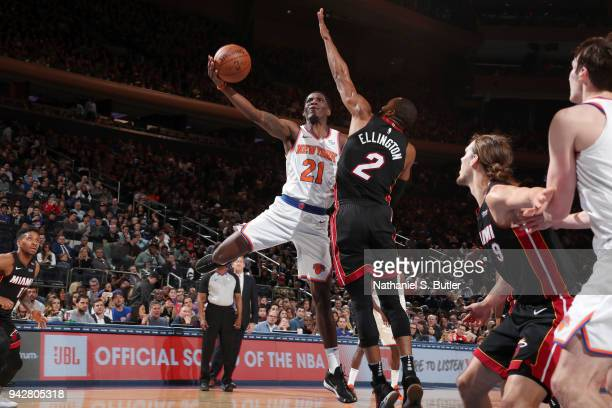 Damyean Dotson of the New York Knicks goes to the basket against the Miami Heat on April 6 2018 at Madison Square Garden in New York City New York...