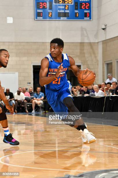 Damyean Dotson of the New York Knicks handles the ball against the Oklahoma City Thunder on July 3 2017 during the 2017 Summer League at Amway Center...