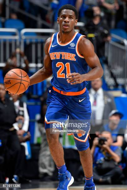 Damyean Dotson of the New York Knicks handles the ball against the Orlando Magic on November 8 2017 at Amway Center in Orlando Florida NOTE TO USER...