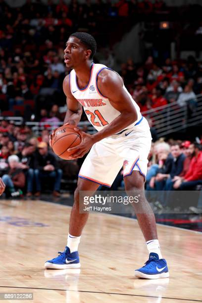 Damyean Dotson of the New York Knicks handles the ball against the Chicago Bulls on December 9 2017 at the United Center in Chicago Illinois NOTE TO...