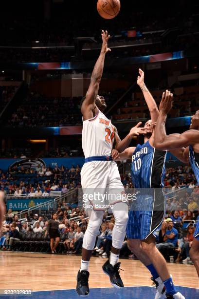 Damyean Dotson of the New York Knicks handles the ball against the Orlando Magic on February 22 2018 at Amway Center in Orlando Florida NOTE TO USER...