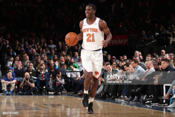 Damyean Dotson of the New York Knicks handles the ball against the Chicago Bulls on March 19 2018 at Madison Square Garden in New York City New York...