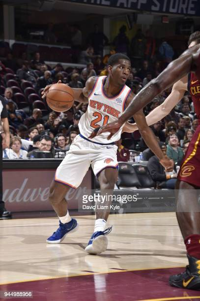 Damyean Dotson of the New York Knicks handles the ball against the Cleveland Cavaliers on April 11 2018 at Quicken Loans Arena in Cleveland Ohio NOTE...