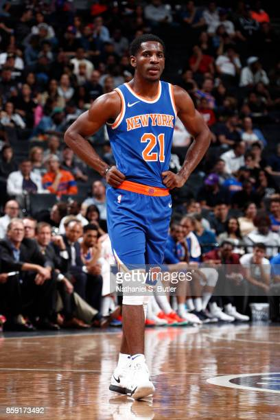 Damyean Dotson of the New York Knicks looks on during a preseason game against the Brooklyn Nets on October 8 2017 at Barclays Center in Brooklyn New...