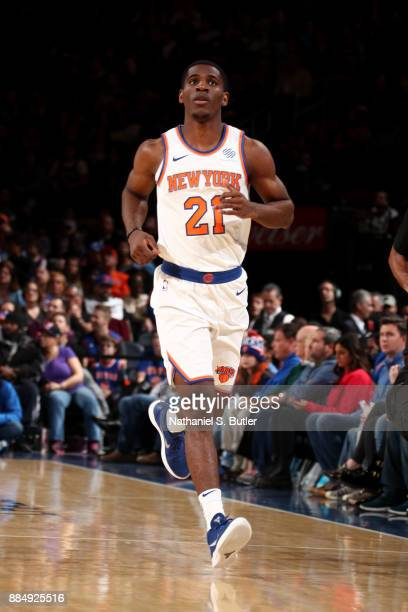 Damyean Dotson of the New York Knicks looks on during the game against the Orlando Magic on December 3 2017 at Madison Square Garden in New York New...