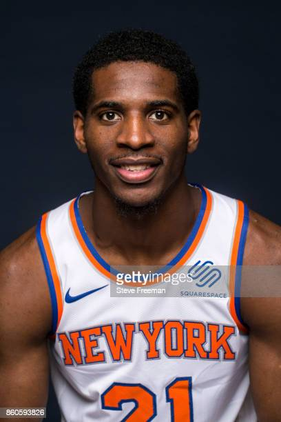 Damyean Dotson of the New York Knicks poses for a portrait at the Knicks Practice Center on October 11 2017 in Tarrytown New York NOTE TO USER User...