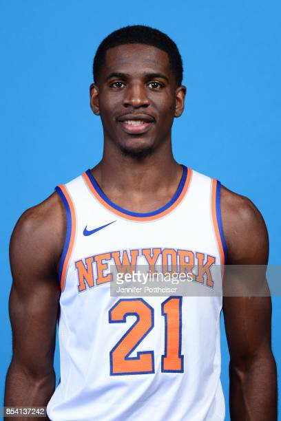Damyean Dotson of the New York Knicks poses for a portrait during 2017 Media Day on September 25 2017 at the New York Knicks Practice Facility in...