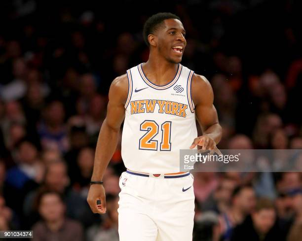 Damyean Dotson of the New York Knicks reacts after he got the assist in the first half against the San Antonio Spurs at Madison Square Garden on...