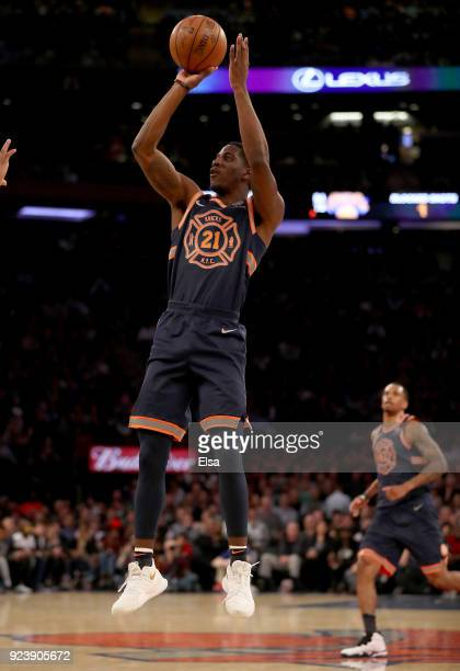 Damyean Dotson of the New York Knicks shoots a three point shot in the first half against the Boston Celtics at Madison Square Garden on February...