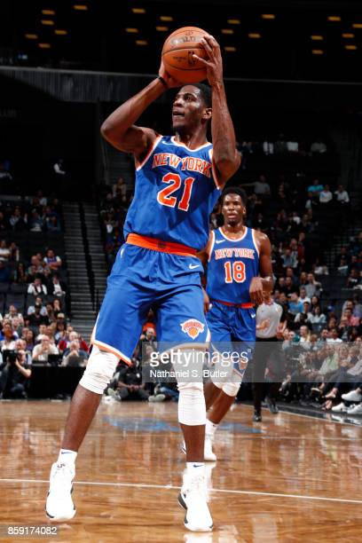 Damyean Dotson of the New York Knicks shoots the ball against the Brooklyn Nets during a preseason game on October 8 2017 at Barclays Center in...