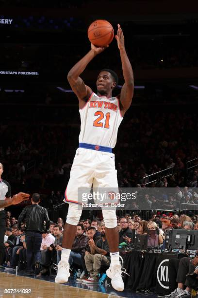 Damyean Dotson of the New York Knicks shoots the ball against the Brooklyn Nets on October 27 2017 at Madison Square Garden in New York City New York...