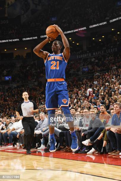 Damyean Dotson of the New York Knicks shoots the ball against the Toronto Raptors on November 17 2017 at the Air Canada Centre in Toronto Ontario...