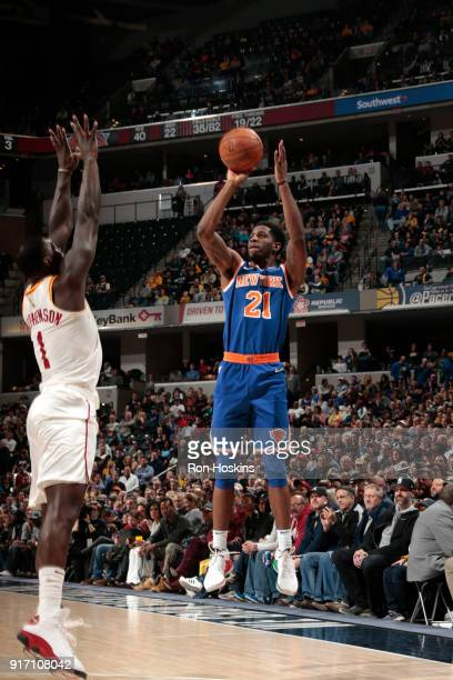 Damyean Dotson of the New York Knicks shoots the ball against the Indiana Pacers on February 11 2018 at Bankers Life Fieldhouse in Indianapolis...