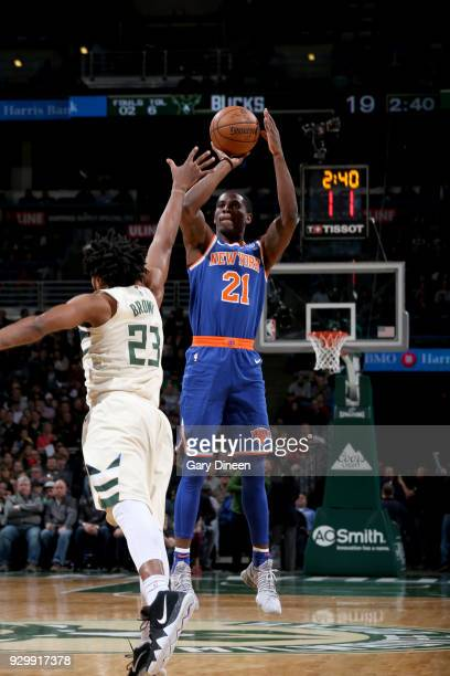 Damyean Dotson of the New York Knicks shoots the ball against the Milwaukee Bucks on March 9 2018 at the BMO Harris Bradley Center in Milwaukee...