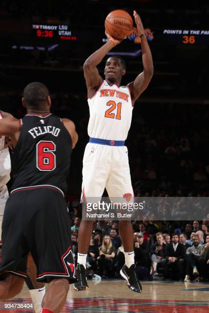 Damyean Dotson of the New York Knicks shoots the ball against the Chicago Bulls on March 19 2018 at Madison Square Garden in New York City New York...