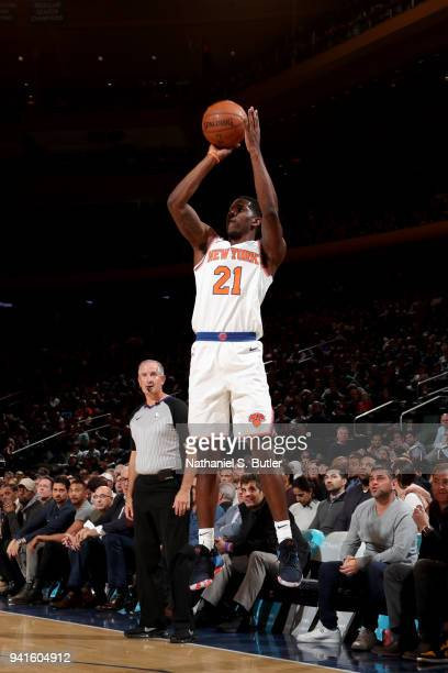 Damyean Dotson of the New York Knicks shoots the ball against the Orlando Magic on April 3 2018 at Madison Square Garden in New York City New York...