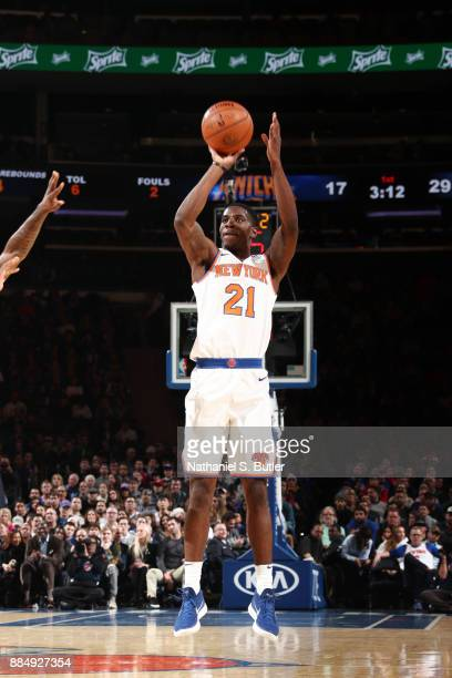 Damyean Dotson of the New York Knicks shoots the ball during the game against the Orlando Magic on December 3 2017 at Madison Square Garden in New...
