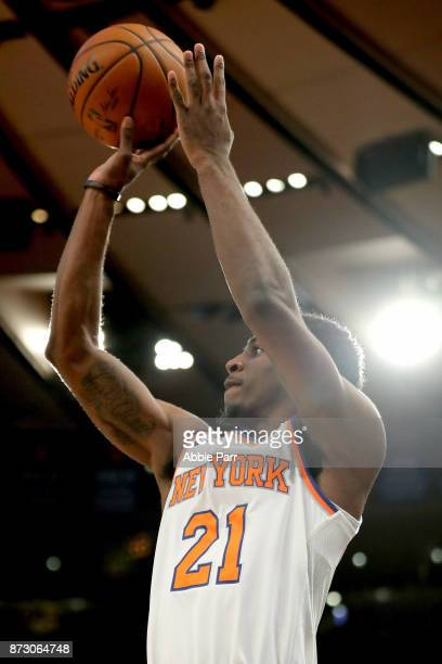 Damyean Dotson of the New York Knicks takes a shot in the second half against the Sacramento Kings during their game at Madison Square Garden on...