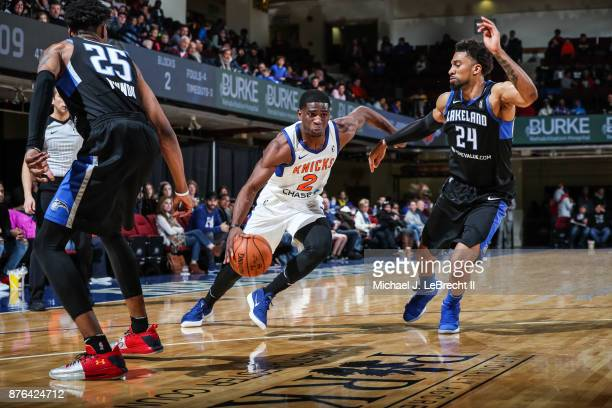 Damyean Dotson of the Westchester Knicks Drives to the basket against the Lakeland Magic during an NBA GLeague game on November 19 2017 at...