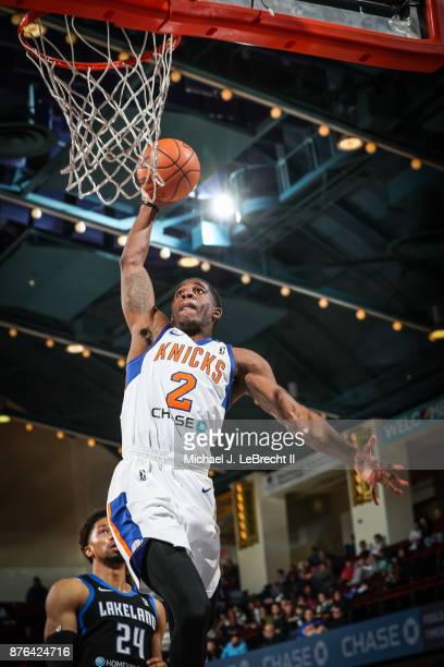 Damyean Dotson of the Westchester Knicks goes up for the dunk against the Lakeland Magic during an NBA GLeague game on November 19 2017 at...