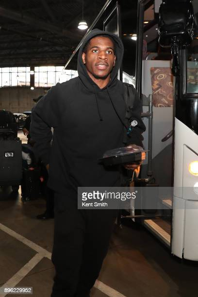 Damyean Dotson the New York Knicks arrives at the arena before the game against the Charlotte Hornets on December 18 2017 at Spectrum Center in...